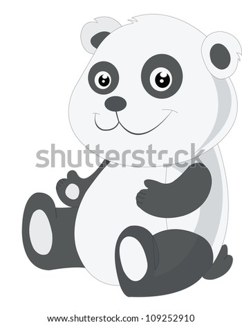 Baby panda, black and white, smiling, vector illustration - stock vector