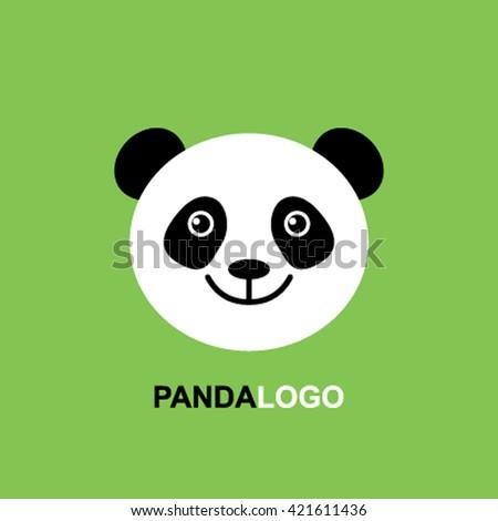baby panda face template logo flatのベクター画像素材 421611436