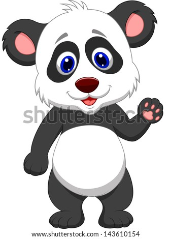 Baby panda waving hand - stock vector
