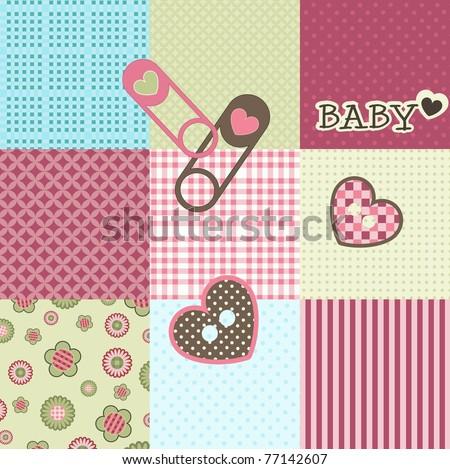 Baby patchwork pattern, vector - stock vector