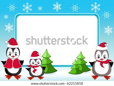 Baby penguins. Christmas frame. Vector illustration. - stock vector