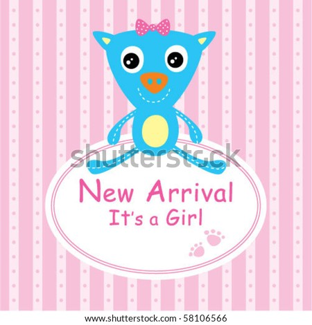 baby piggy arrival card