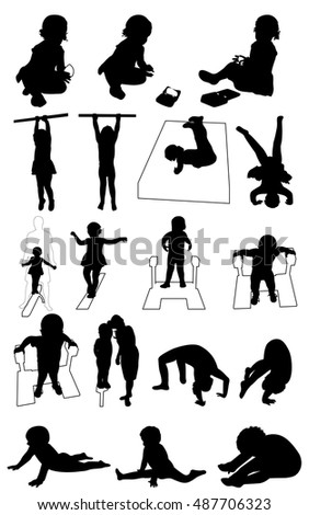 Baby playing  and exercise gymnastic set of silhouettes