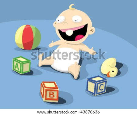 Baby playing with toys. - stock vector