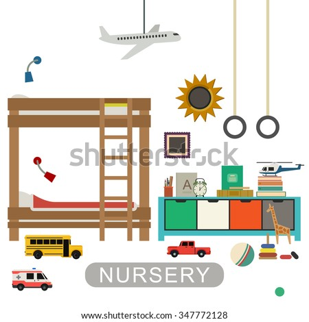 Baby playroom interior with furniture and toys. Vector banner of nursery in flat style. - stock vector