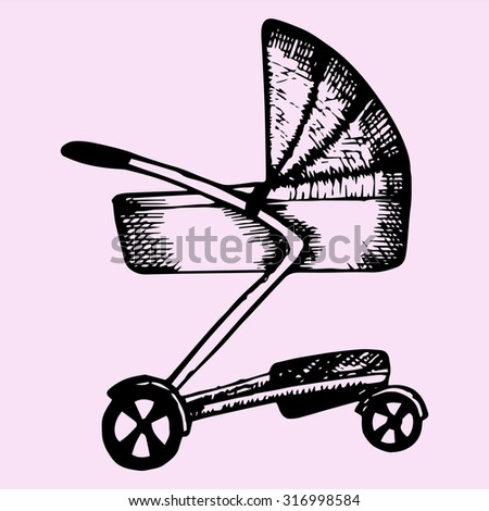 Baby pram, doodle style, sketch illustration - stock vector