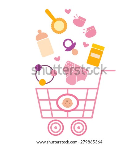 Baby products in the shopping cart - stock vector
