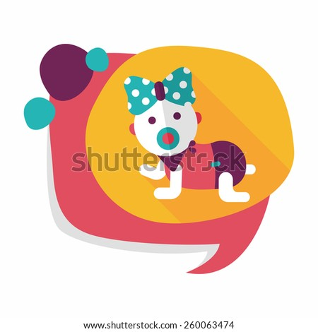 baby rattle flat icon with long shadow,eps10 - stock vector