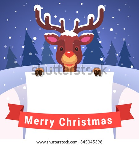 Baby reindeer with antlers covered with snow holding white greeting card copyspace decorated with red Merry Christmas ribbon. Flat style isolated vector illustration. - stock vector