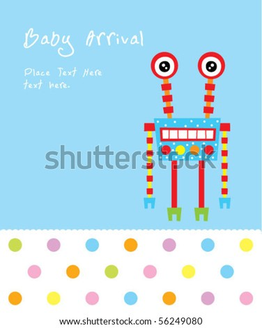 baby robot arrival card - stock vector