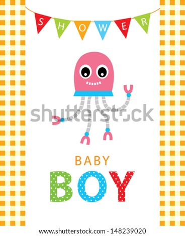 baby robot boy shower greeting card