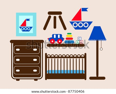 Baby room furniture and toys , boys baby crib , baby room decoration including wall art and a shelf