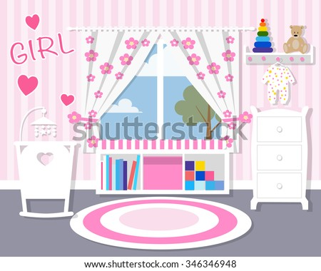 Baby room in pink/Baby room with furniture/Nursery interior/Flat style vector illustration/wall/Baby room/Nursery room/Baby room in Flat style/white furniture/toys/curtains/pajamas/girl - stock vector