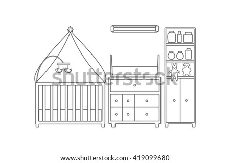Baby room. Nursery interior. Vector line illustration.