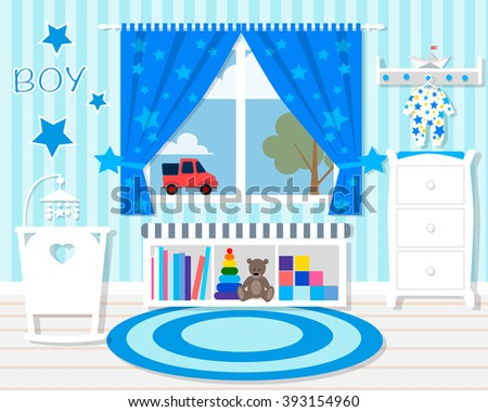 Baby room with blue walls/Baby room with furniture/Nursery interior/Flat style vector illustration/Baby room/Nursery room/Baby room in Flat style - stock vector