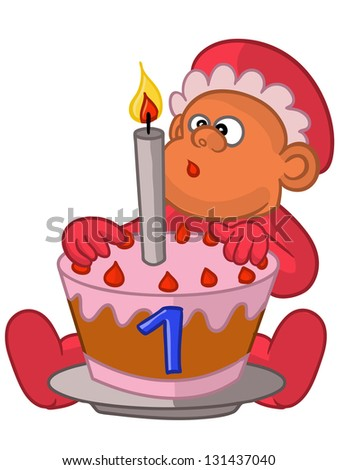 baby's first birthday cartoon,vector isolated on white background - stock vector