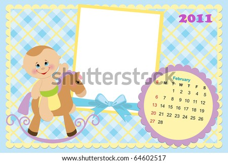 Baby's monthly calendar for february 2011 with photo frames (EPS10)