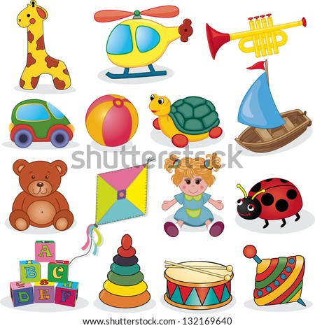 Baby's toys set. Vector illustration - stock vector