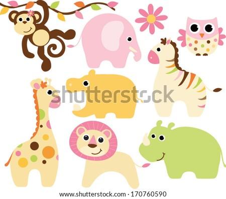 Baby Safari Animals - Girl - stock vector