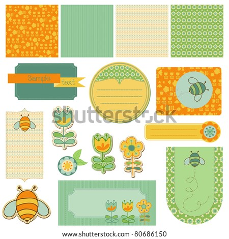 Baby Scrap with Bee - with seamless backgrounds, beautiful tags and design elements