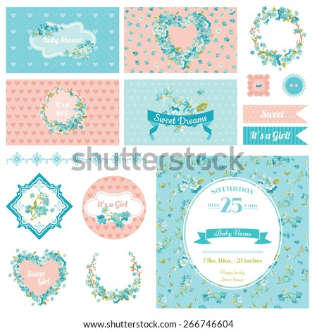 Baby Scrapbook Party Set - Flower Theme - Design Elements, Backgrounds - in vector - stock vector