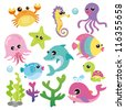 Baby Sea Creatures - stock vector