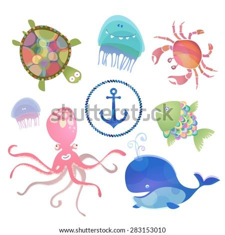 Baby sea creatures. Vector set. - stock vector