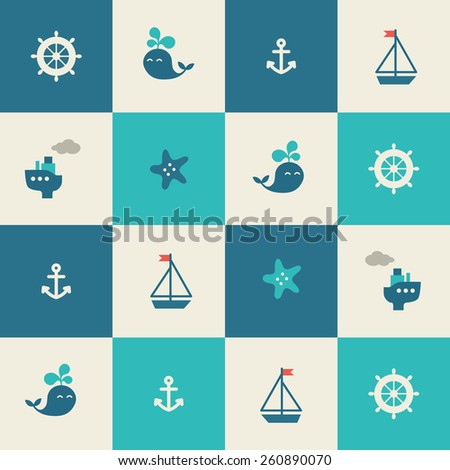 Baby sea seamless pattern. Icons of ship, whale, boat, anchor, wheel, starfish - stock vector