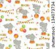 Baby seamless pattern of  cute little elephant . Colorful vector illustration. - stock vector