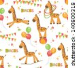 Baby seamless pattern of cute little giraffe . Colorful vector illustration. - stock vector