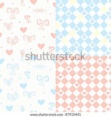 Baby seamless pattern set with hearts, bow and flowers - stock vector