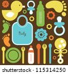 baby seamless pattern. vector illustration - stock vector