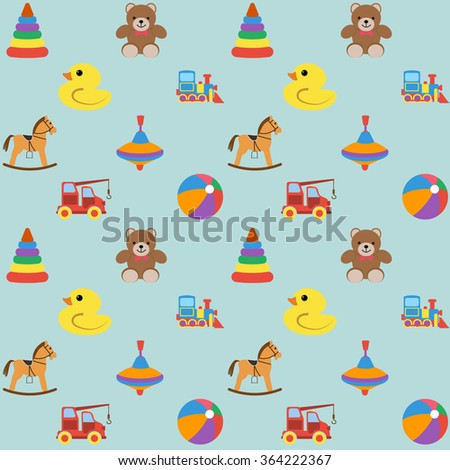 Baby seamless pattern with colored icons, for boy. Vector illustration.