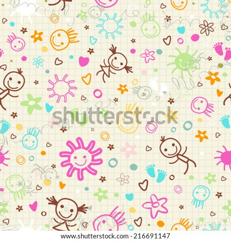 baby seamless pattern with cute elements
