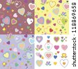 Baby seamless texture with hearts - stock vector