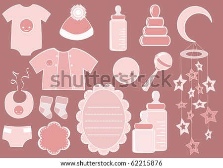 Baby set. Design element. Vector illustration. - stock vector