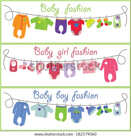 Baby set.New born baby Colorful clothes hanging on rope.Baby fashion.Slip,body,jacket,hats,socks,bib for boys and girls.Horizontal Banners.Funny vector Illustration background.Summer and spring poster - stock vector