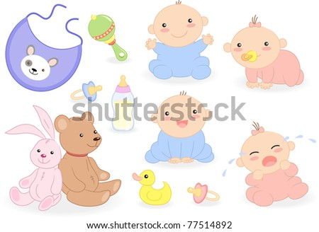 Baby set with babies and accessories