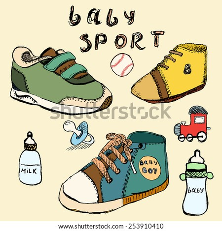 Baby shoes set sketch hand drawn in color. - stock vector