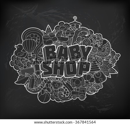 Baby Shop - Hand Lettering and Doodles Elements Sketch. Vector illustration - stock vector