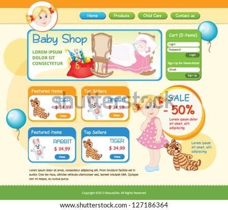 Baby Shop web template - stock vector