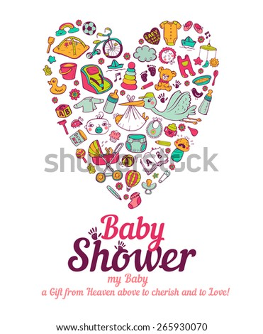 Baby shower announcement card in vector format - stock vector