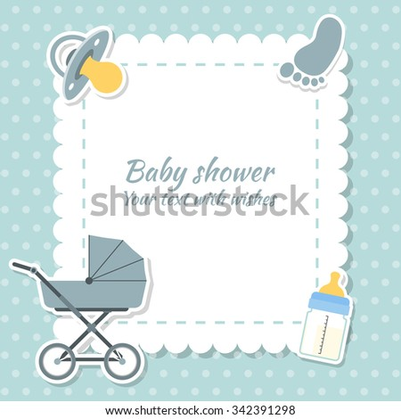 Baby shower boy invitation card. Place for text.  Greeting cards. - stock vector