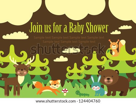 baby shower card design. forest friends. vector illustration - stock vector