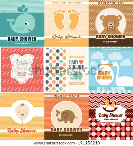 Baby Shower Card Design Template Set - stock vector