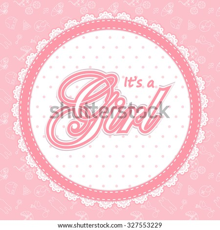 Baby Shower Card Girl Baby Shower Stock Vector Shutterstock - It's a girl baby shower invitation templates