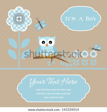baby shower card for baby boy, button flowers with owl.Vector eps10 , illustration.