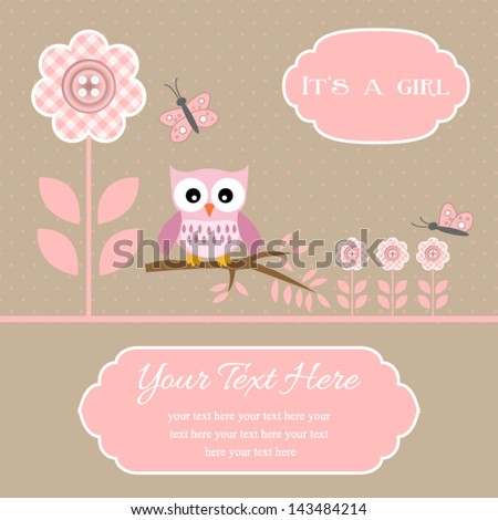 baby shower card for baby boy, button flowers with owl.Vector eps10 , illustration.  - stock vector