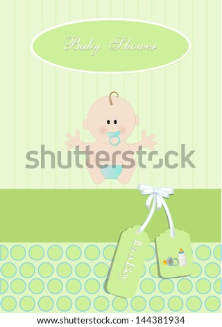 baby shower card,for baby boy, with newborn baby.Vector eps10, illustration.