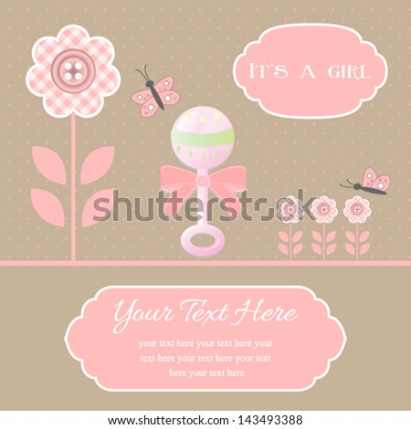 baby shower card for baby girl, button flowers with rattle.Vector eps10 , illustration. - stock vector
